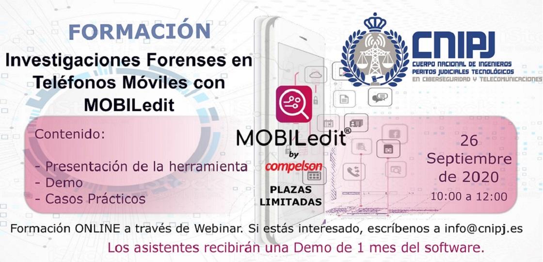 CURSO DE FORMACIÓN INVESTIGACIONES FORENSES EN TELÉFONOS MÓVILES CON MOBILedit